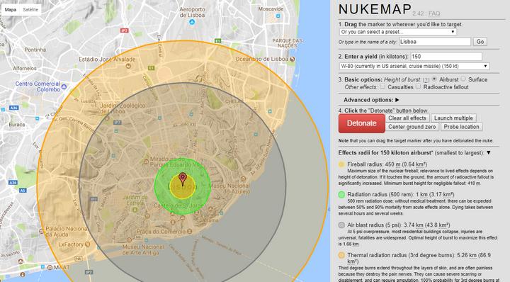 dc6ebf75b9b Para conseguir ter uma ideia da dimensão dos estragos de uma arma nuclear  existe um mapa