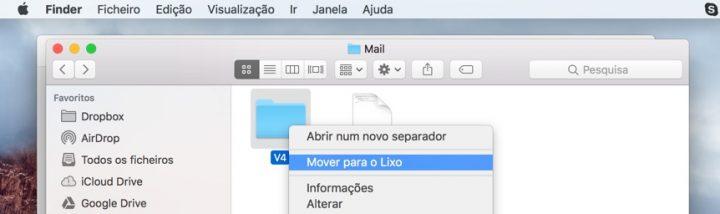 limpar e-mails no mac