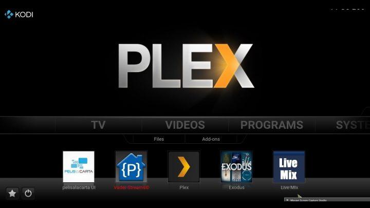 Ecrã de início do Plex