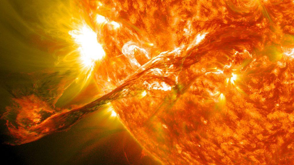 sol: Ilustração de uma erupção solar