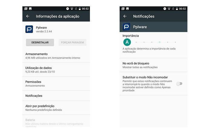 controlo de notificações Android - 6 e 7