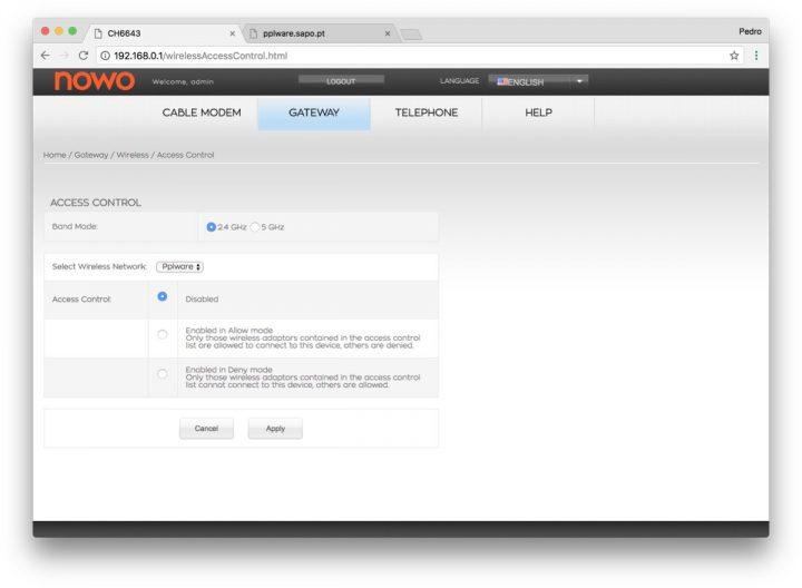 filtrar mac no router NOWO