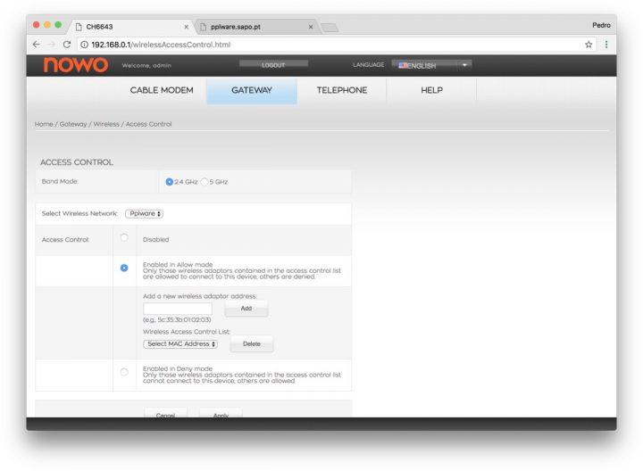 filtrar mac no router NOWO positivos