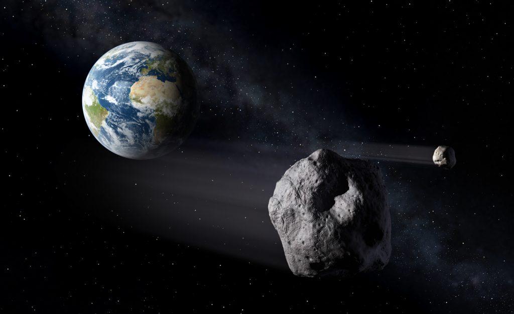 Ilustração de um asteroide em rota de colisão com a Terra