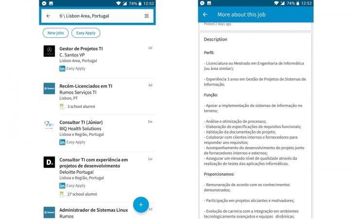 linkedin - app para procurar emprego
