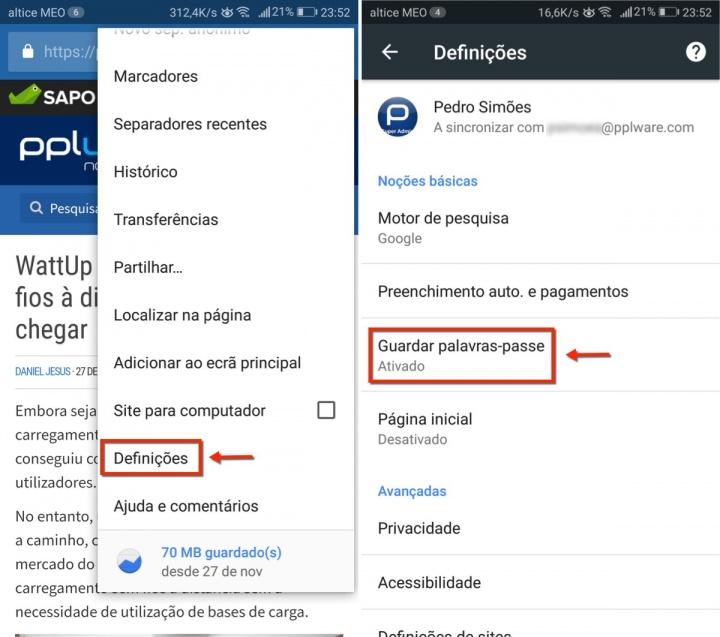 Chrome Android definições