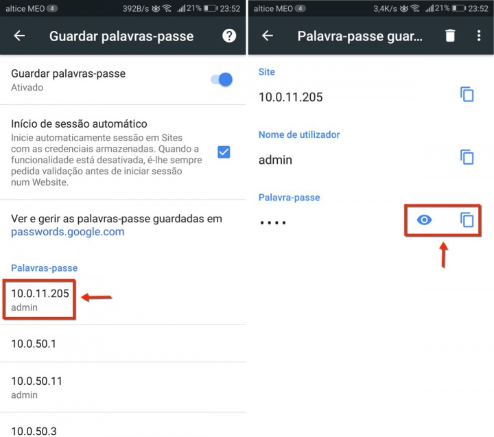 Chrome Android passwords