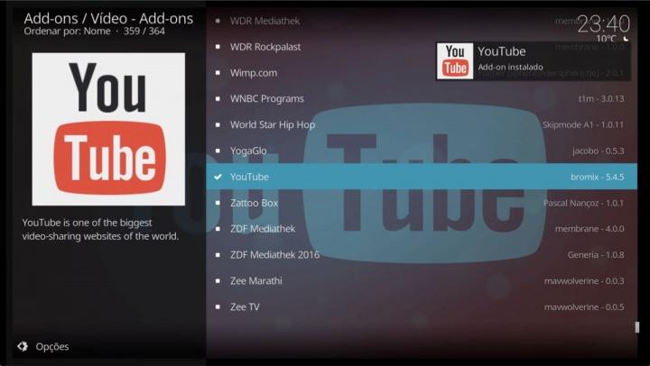 Kodi YouTube add-on