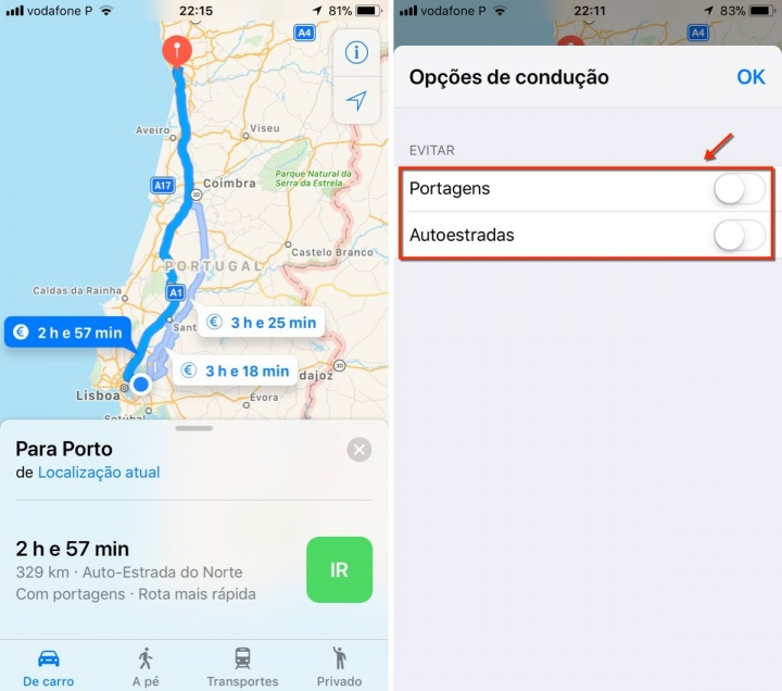 Viagens apple maps