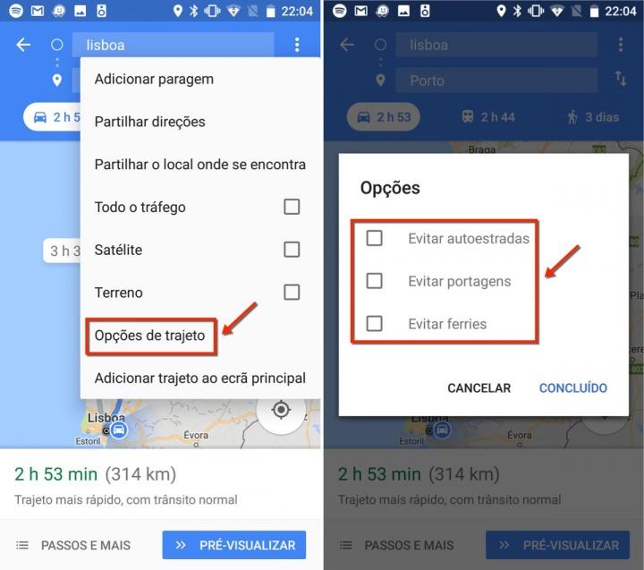 Viagens google maps