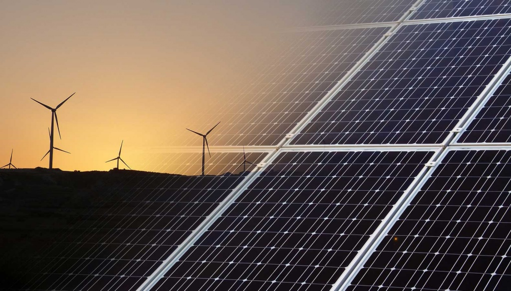 Ilustração parque eólico, solar e de armazenamento de energia