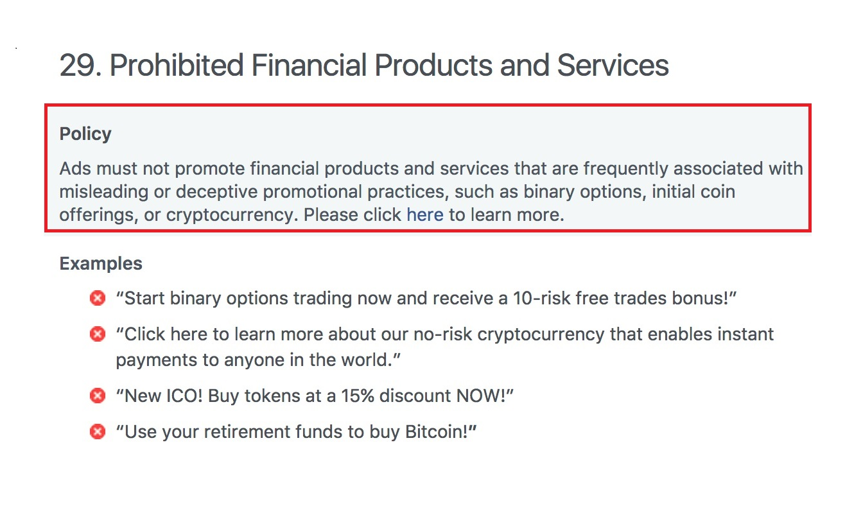 Ponto nº 29 das Políticas de Publicidade do Facebook sobre o banimento dos anúncios relacionados a Bitcoin e criptomoedas