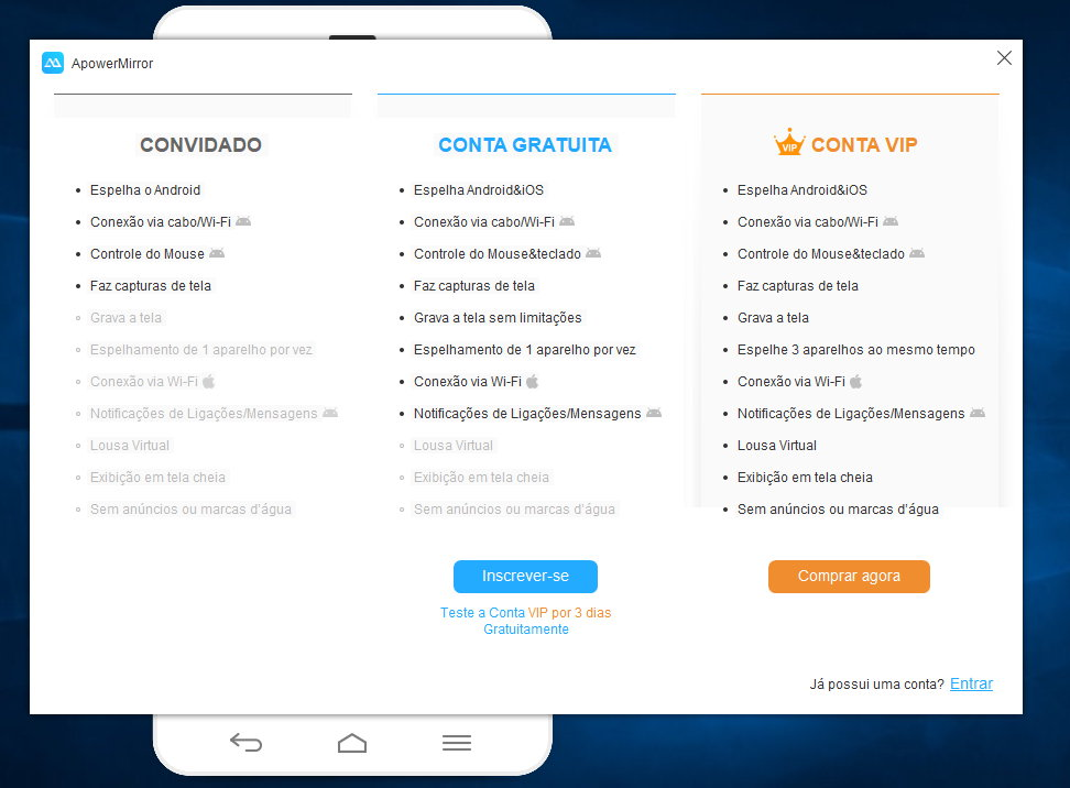 ApowerMirror, smartphone Android ou iPhone no PC - Pplware