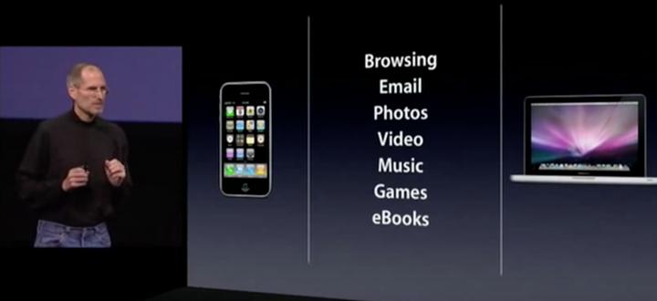 Imagem do que um iPad herdou do iPhone, com apresentação de Steve Jobs