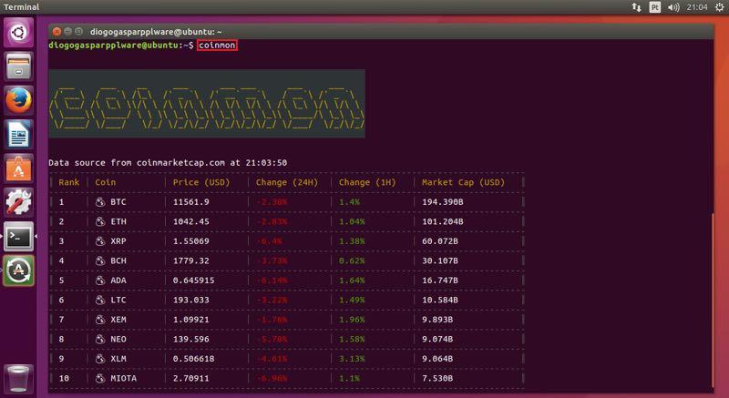 Coinmon consulte o valor das criptomoedas no terminal do for Consul node js
