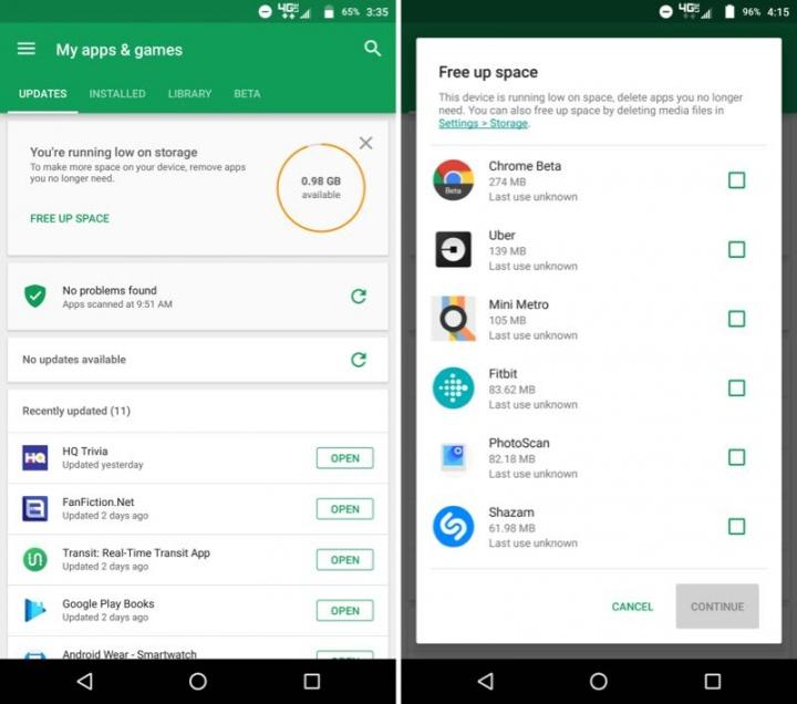 Google Play Store espaço