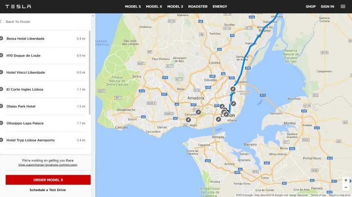 tesla - planeador de viagem online 3