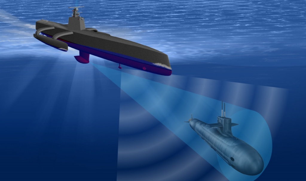 Esquema que define o navio anti-submarinos, Sea Hunter