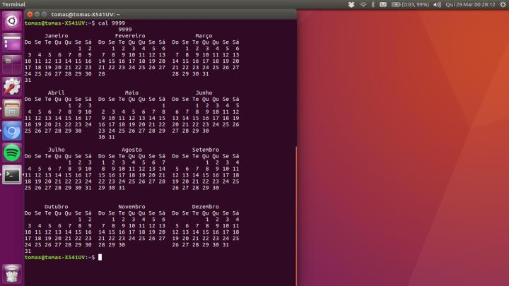 Calendário Linux