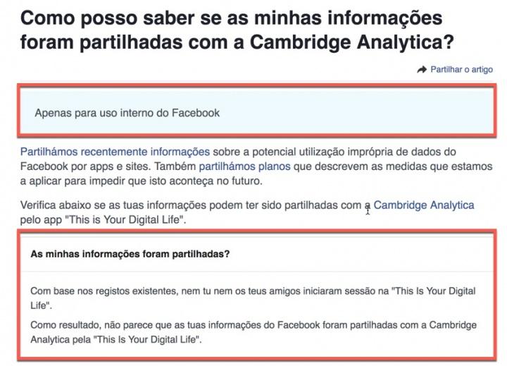 abbbd280325cb Se está curioso em saber se o Facebook partilhou os seus dados com a Cambridge  Analytica através da app This Is Your Digital Life basta que aceda ao  Centro ...