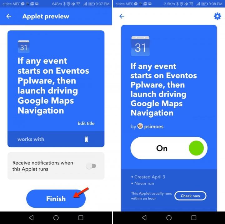IFTTT Google Maps Calendar