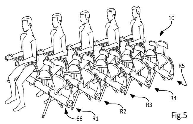 Maquete de patente para viajar de pé no avião