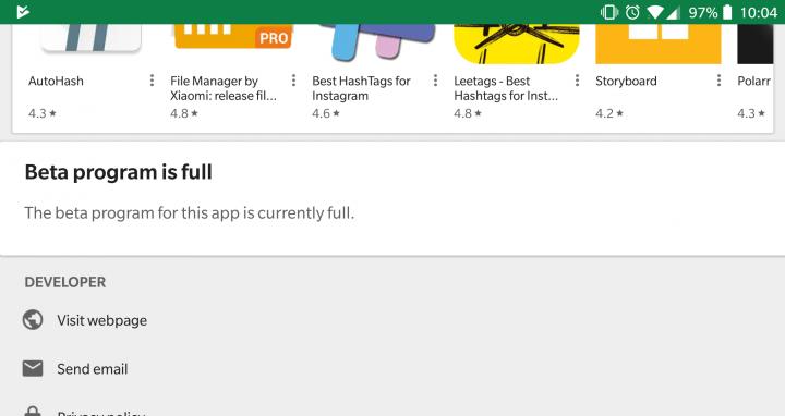 programa beta inscrição play store
