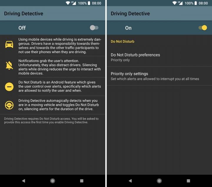 Driving Detective Android conduzir Não incomodar durante a condução