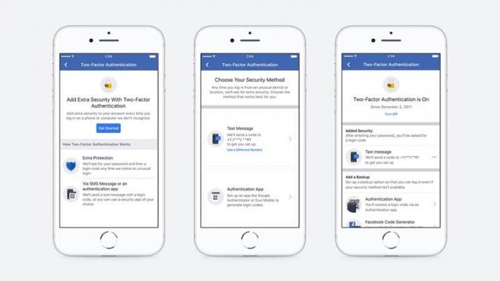 Facebook autenticação de dois fatores telefone número