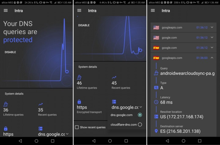 Intra Android DNS HTTPS Google