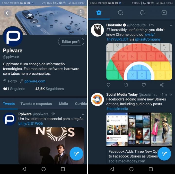 Twitter modo noturno Android iOS