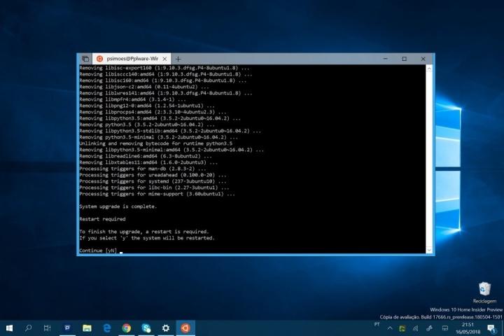 Windows 10 Ubuntu 18.4 Microsoft atualização