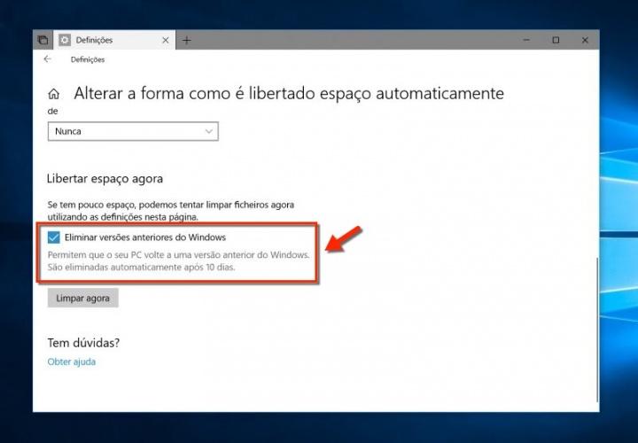 Windows 10 Atualização de abril espaço disco
