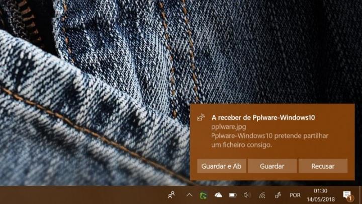 Windows 10 Partilha de proximidade Microsoft ficheiros