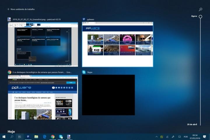 Windows 10 Atualização de abril Timeline