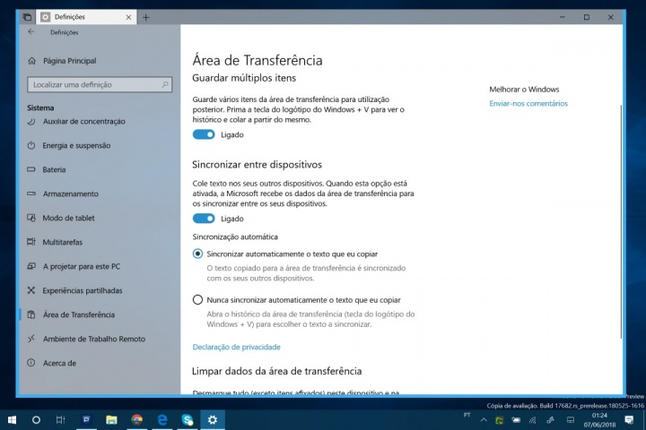Windows 10 área de transferência clipboard Microsoft