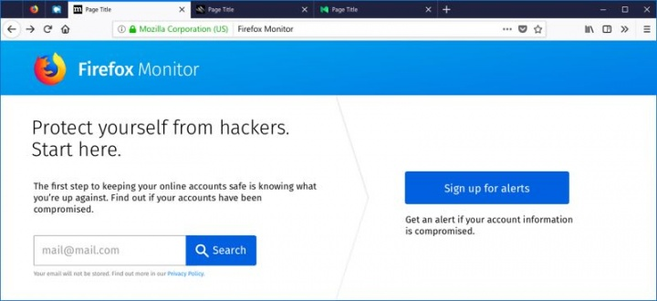 Mozilla Firefox segurança Monitor