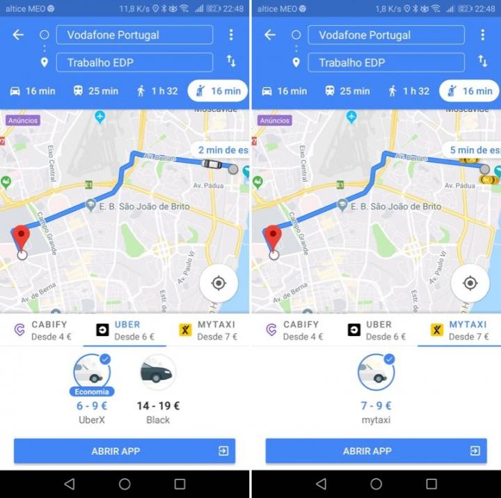 Google Uber Google Maps