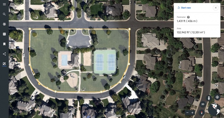 Google Earth medir distâncias áreas