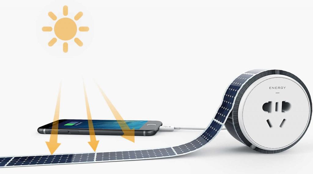Imagem de fita flexível para captar energia solar