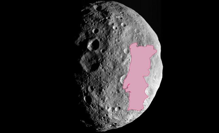 Imagem comparativa do asteroide Vesta com Portugal