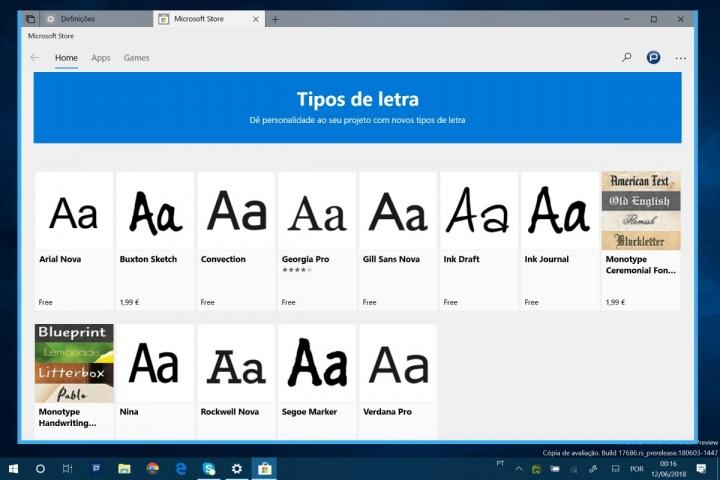 Windows 10 gestão fontes