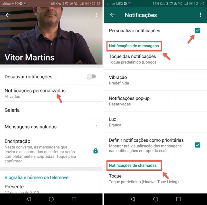 WhatsApp contactos personalize notificações grupo