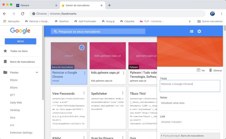 Chrome reiniciar browser endereço