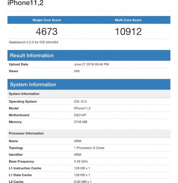 GeekBench iPhone Apple A12