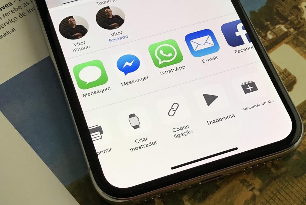 Imagem iPhone X com a função de criar links
