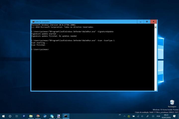 Windows 10 Windows Defender Dos linha de comando