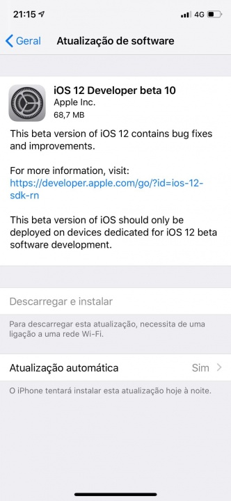 Apple iOS 12 beta 10 programadores