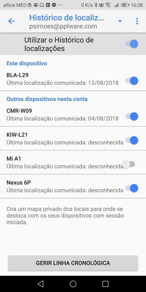 Google localização registo GPS