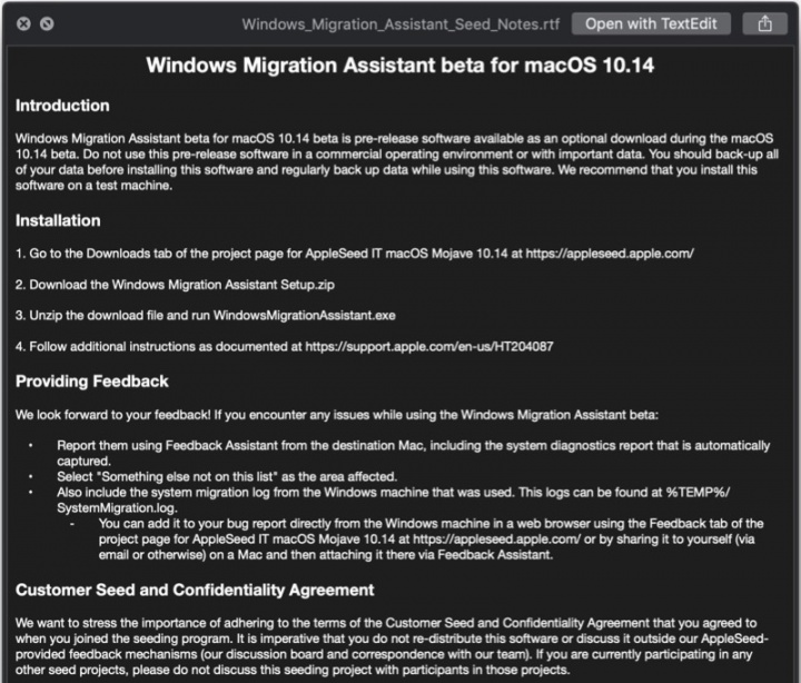Windows Migration Assistant macOS Mojave Apple Windows 10